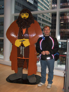 A giant lego statue and Christian